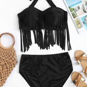 Black Long Line Fringe Plus Size Bikini XXL Top